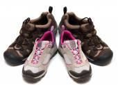 Two pairs of trekking shoes  — Stock Photo