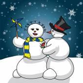 Snowmen romance — Διανυσματικό Αρχείο