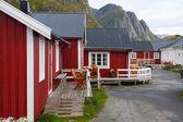Wooden house at the Lofoten archipelago  — Stock Photo