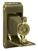 Vintage folding bellows film camera — Stock Photo