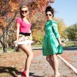 Two girls in colorful dresses walking in the autumn park — Stock Photo #53980627