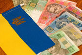 Ukrainian money against the background of the national flag — Stock Photo