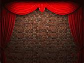 Vector velvet curtain and stome wall background — Stok Vektör