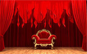 Vector chair on red curtain stage — Stock Vector