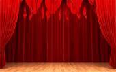Vector Red velvet curtain opening scene — Stock Vector