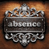 Absence vector metal word on wood — Stock Vector