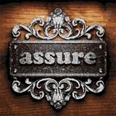 Assure vector metal word on wood — Stock Vector