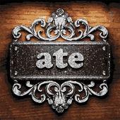 Ate vector metal word on wood — Stock Vector