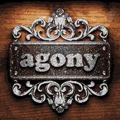 Agony vector metal word on wood — Stock Vector