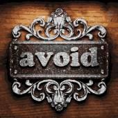Avoid vector metal word on wood — Stock Vector