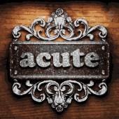 Acute vector metal word on wood — Stock Vector