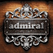Admiral vector metal word on wood — Stock Vector