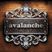 Avalanche vector metal word on wood — Stock Vector