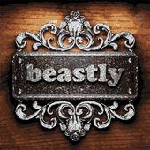 Beastly vector metal word on wood — Stock Vector