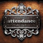 Attendance vector metal word on wood — Stock Vector