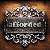 Afforded vector metal word on wood — Stock Vector