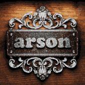 Arson vector metal word on wood — Stock Vector