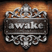 Awake vector metal word on wood — Stock Vector