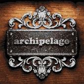 Archipelago vector metal word on wood — Stock Vector