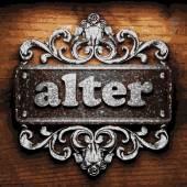 Alter vector metal word on wood — Stock Vector