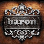 Baron vector metal word on wood — Stock Vector