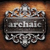 Archaic vector metal word on wood — Stock Vector