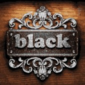 Black vector metal word on wood — Stock Vector
