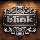 Blink vector metal word on wood — Stock Vector
