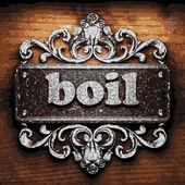 Boil vector metal word on wood — Stock Vector