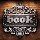 Book vector metal word on wood — Stock Vector