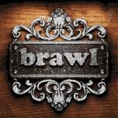 Brawl vector metal word on wood — Stock Vector
