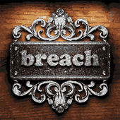Breach vector metal word on wood — Stock Vector