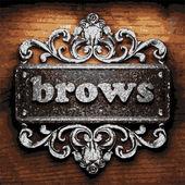 Brows vector metal word on wood — Cтоковый вектор