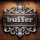 Buffer vector metal word on wood — Stock Vector