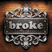 Broke vector metal word on wood — Stock Vector