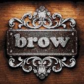 Brow vector metal word on wood — Stock Vector