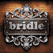 Bridle vector metal word on wood — Stock Vector