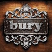 Bury vector metal word on wood — Stock Vector