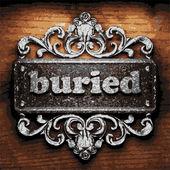 Buried vector metal word on wood — Stock Vector