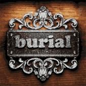 Burial vector metal word on wood — Stock Vector