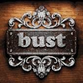 Bust vector metal word on wood — Stock Vector