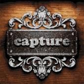 Capture vector metal word on wood — Stock Vector