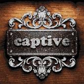 Captive vector metal word on wood — Stock Vector