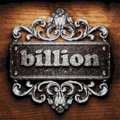 Billion vector metal word on wood — Stock Vector