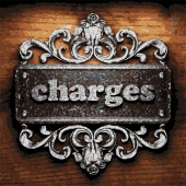 Charges vector metal word on wood — Stock Vector