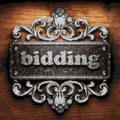 Bidding vector metal word on wood — Stock Vector