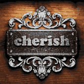 Cherish vector metal word on wood — Wektor stockowy