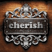 Cherish vector metal word on wood — 图库矢量图片