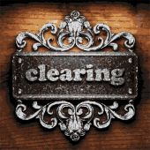 Clearing vector metal word on wood — Vetor de Stock