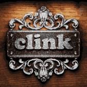 Clink vector metal word on wood — Stock Vector